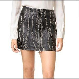 Free People Black Leather Mini Skirt